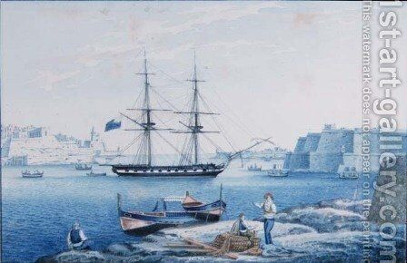Malta View of the Entrance of the Harbour of La Valletta from Isola Point by Anton the Younger Schranz - Reproduction Oil Painting