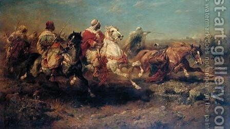 The Attack by Adolf Schreiyer - Reproduction Oil Painting