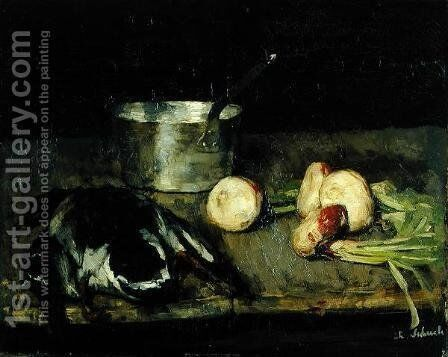 Still life with casserole and wild duck, 1885 by Carl Schuch - Reproduction Oil Painting