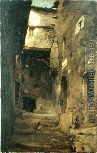 Street in Olevano by Carl Schuch - Reproduction Oil Painting