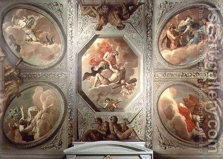The Apotheosis of Hercules, ceiling painting, 1680 by Theodorus van der Schuer - Reproduction Oil Painting