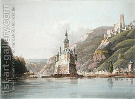 Pfalz Castle and the Town of Laub, illustration from A Picturesque Tour along the Rhine, from Mentz to Cologne, engraved by T. Sutherland, published 1820 by (after) Schuetz, M. - Reproduction Oil Painting