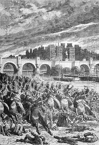 The Massacre at the Pont Neuf, engraved by Stephane Pannemaker 1847-1930, from The History of France, by Emile de Bonnechose, published by Ward, Lock and Co, London by (after) Schuler, Jules Theophile - Reproduction Oil Painting