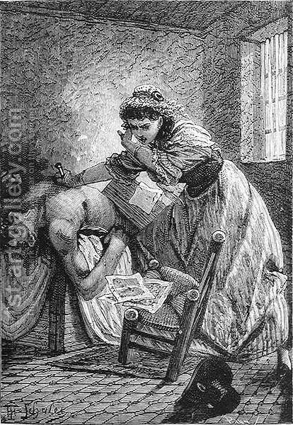The Death of Marat, engraved by Stephane Pannemaker 1847-1930, from The History of France, by Emile de Bonnechose, published by Ward, Lock and Co, London by (after) Schuler, Jules Theophile - Reproduction Oil Painting