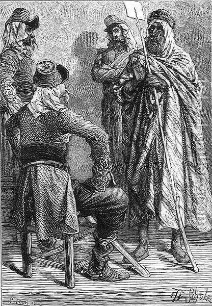 The French in Algeria, engraved by P. Louis 19th century, from The History of France, by Emile de Bonnechose, published by Ward, Lock and Co, London by (after) Schuler, Jules Theophile - Reproduction Oil Painting