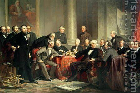 Men of Progress: group portrait of the great American inventors of the Victorian Age, 1862 by Christian Schussele - Reproduction Oil Painting