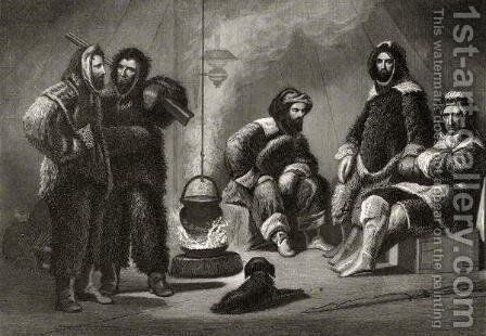 Life in the Brig, engraved by J. McGoffin, from Arctic Explorations in the Years 1853, 54, 55, Volume I, by Doctor Elisha Kent Kane 1820-57 published Philadelphia, 1856 by Christian Schussele - Reproduction Oil Painting