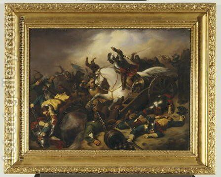 Battle Scene from the Thirty Years War, 1844 by A Schuster - Reproduction Oil Painting