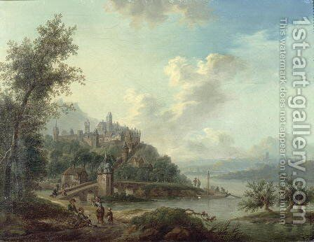 A Rhineland View with a Bridge and Figures in the foreground and a Fortified Town on a Hill beyond by Christian Georg II Schutz or Schuz - Reproduction Oil Painting