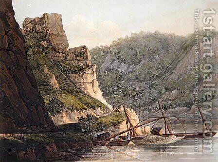 Salmon Fishery at Lurley, engraved by T. Sutherland, from A Picturesque Tour along the Rhine, from Mentz to Cologne, published by R. Ackermann, London, 1820 by Christian Georg II Schutz or Schuz - Reproduction Oil Painting
