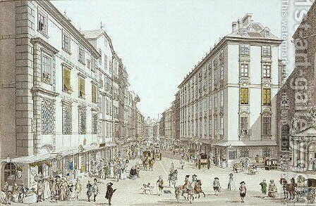 View of Kohlmarkt, 1786 by Christian Georg II Schutz or Schuz - Reproduction Oil Painting
