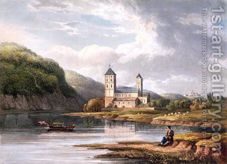 The Church of Johannes at the influx of the Lahn, engraved by T. Sutherland, from A Picturesque Tour along the Rhine, from Mentz to Cologne, published by R. Ackermann, London, 1819 by Christian Georg II Schutz or Schuz - Reproduction Oil Painting