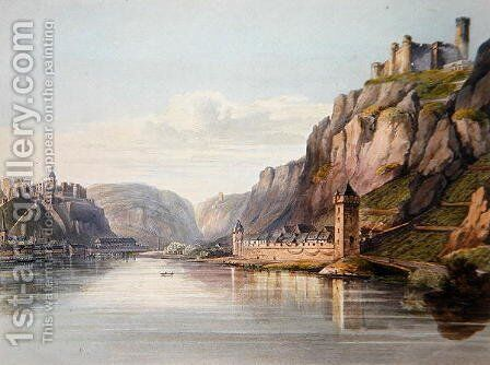 St. Goarshausen, St. Goar and Rheinfels, engraved by T. Sutherland, from A Picturesque Tour along the Rhine, from Mentz to Cologne, published by R. Ackermann, London, 1819 by Christian Georg II Schutz or Schuz - Reproduction Oil Painting