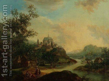 A Rhineland View with Figures in the foreground and a Fortified Town on a Hill Beyond by Christian Georg II Schutz or Schuz - Reproduction Oil Painting