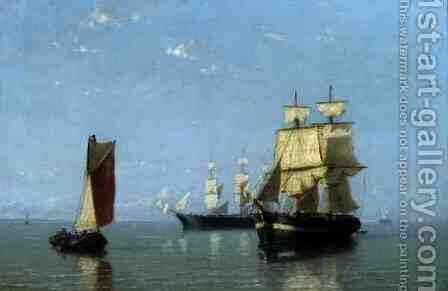 Shipping Scene, 1880 by Joannes Frederick Schutz - Reproduction Oil Painting