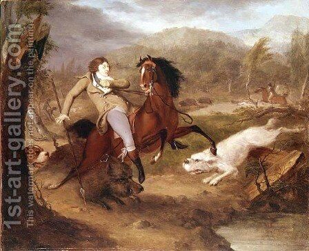 A Boar Hunt by Charles Henry Schwanfelder - Reproduction Oil Painting