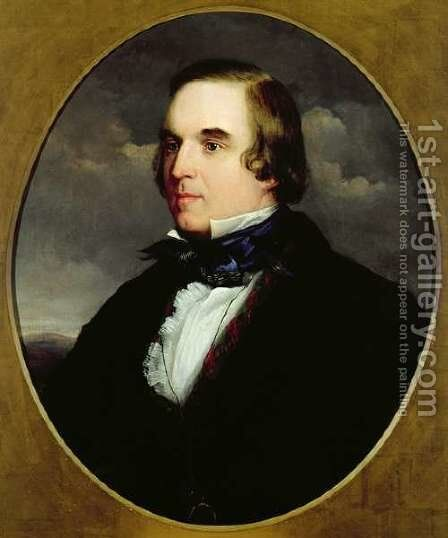 Portrait of George Linley 1798-1865 by Charles Henry Schwanfelder - Reproduction Oil Painting