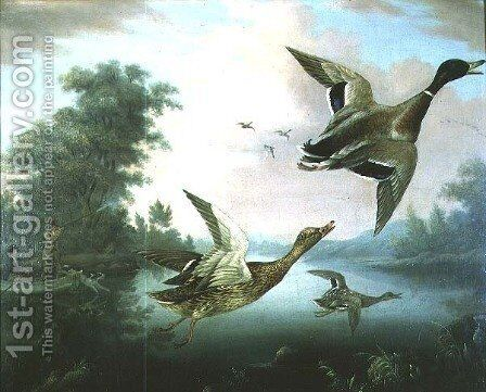 Duck Shooting by Charles Henry Schwanfelder - Reproduction Oil Painting