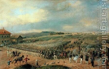 Manoeuvres, 1849 by Gustav Schwartz or Schwarz - Reproduction Oil Painting