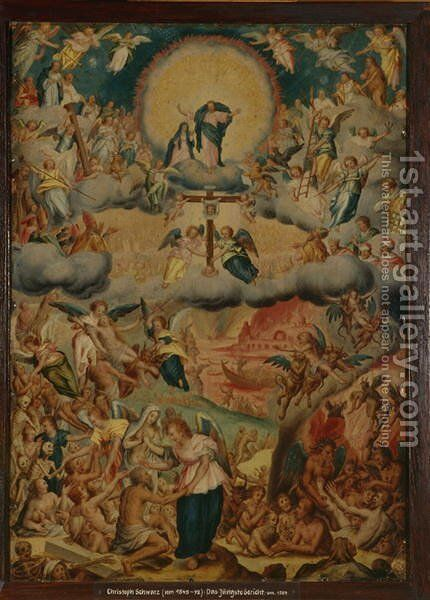 The Last Judgement, c.1590 by Christoph Schwartz or Schwarz - Reproduction Oil Painting