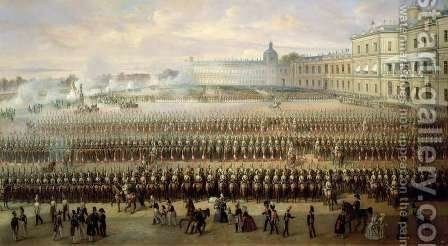 Unveiling of the Paul I memorial in Gatchina, 1850 by Gustav Schwartz or Schwarz - Reproduction Oil Painting