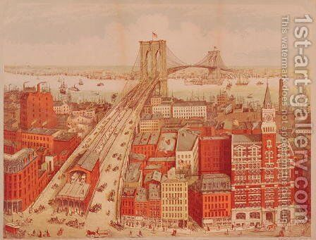 Brooklyn Bridge, c.1883 by (after) Schwarz, R. - Reproduction Oil Painting