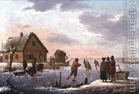 Figures Skating in a Winter Landscape by Hendrik Willem Schweickardt - Reproduction Oil Painting