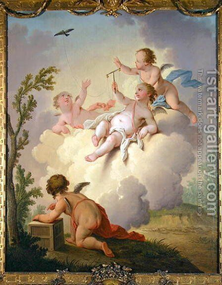 Angels Playing with a Bird in a Landscape by Hendrik Willem Schweickardt - Reproduction Oil Painting