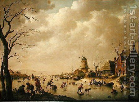 Skaters on a Frozen Canal, 1779 by Hendrik Willem Schweickardt - Reproduction Oil Painting