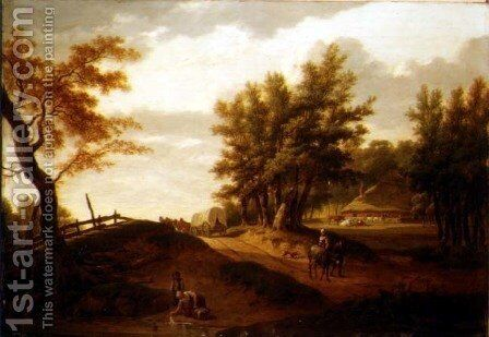 A wooded landscape with a waggon and peasants travelling on a road, a washerwoman at a pond and a farm beyond by Hendrik Willem Schweickardt - Reproduction Oil Painting