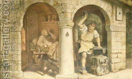 The Blacksmith of Ruhla, c.1854-44 by Moritz Ludwig von Schwind - Reproduction Oil Painting