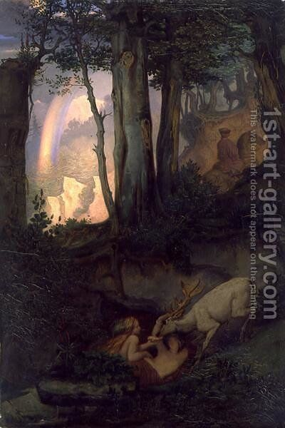 Waternymphs watering a stag, c.1844-47 by Moritz Ludwig von Schwind - Reproduction Oil Painting