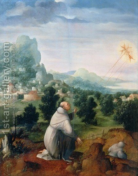 St. Francis Receiving the Stigmata by Jan Van Scorel - Reproduction Oil Painting