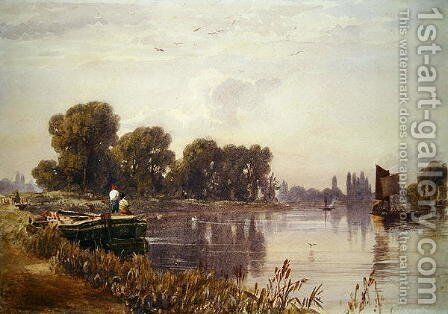 View of the Thames by Caroline Lucy Scott - Reproduction Oil Painting