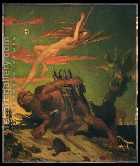 Ariel and Caliban, 1837 by David Scott - Reproduction Oil Painting