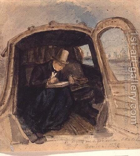 William Dyce 1806-64 in a Gondola Sketching in Venice, 1832 by David Scott - Reproduction Oil Painting