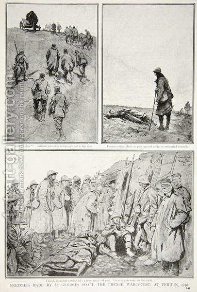 Sketches made by a French War-Artist at Verdun, 1916 by (after) Scott, M. Georges - Reproduction Oil Painting