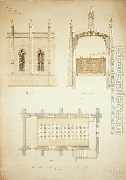 New College Oxford Design for New Hall Roof, 1865 2 by Sir George Gilbert Scott - Reproduction Oil Painting