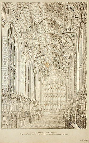 New College Chapel Interior view showing alternative design for proposed roof, 1875-77 by Sir George Gilbert Scott - Reproduction Oil Painting