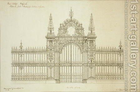 New College Oxford Proposed Gates and Railing for Entrance to Garden, 1874 2 by Sir George Gilbert Scott - Reproduction Oil Painting