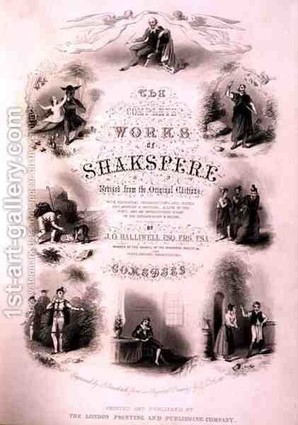 Frontispiece for The Complete Works of Shakespeare, revised by J. O. Halliwell, engraved by G. Greatbach by (after) Scott, T. D. - Reproduction Oil Painting