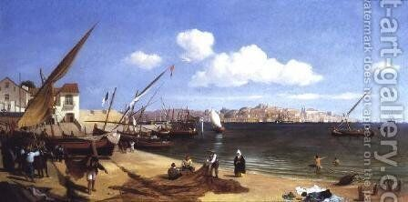 The Harbour, Lisbon by Charles Henry Seaforth - Reproduction Oil Painting