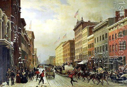 Street Scene in New York by Hyppolyte Victor Valentin Sebron - Reproduction Oil Painting
