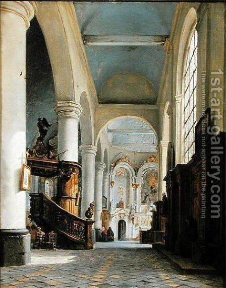 Interior of the Church of St. Denis, Saint-Omer, 1835 by Hyppolyte Victor Valentin Sebron - Reproduction Oil Painting