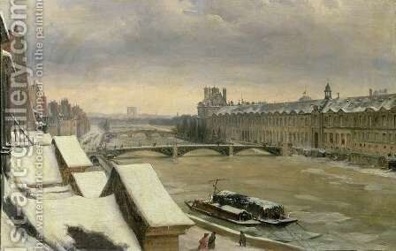 View of the Louvre in Winter by Hyppolyte Victor Valentin Sebron - Reproduction Oil Painting