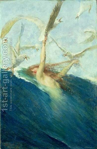 A Mermaid Being Mobbed by Seagulls by Giovanni Segantini - Reproduction Oil Painting