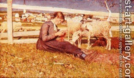 A Girl Knitting, 1888 by Giovanni Segantini - Reproduction Oil Painting