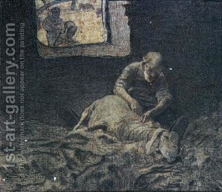The Sheep Shearer by Giovanni Segantini - Reproduction Oil Painting