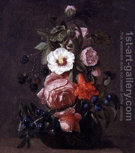 A Still Life of Mixed Flowers and Berries in a Glass Vase by Daniel Seghers - Reproduction Oil Painting