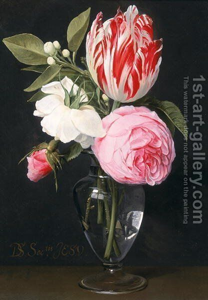 Flowers in a glass vase by Daniel Seghers - Reproduction Oil Painting